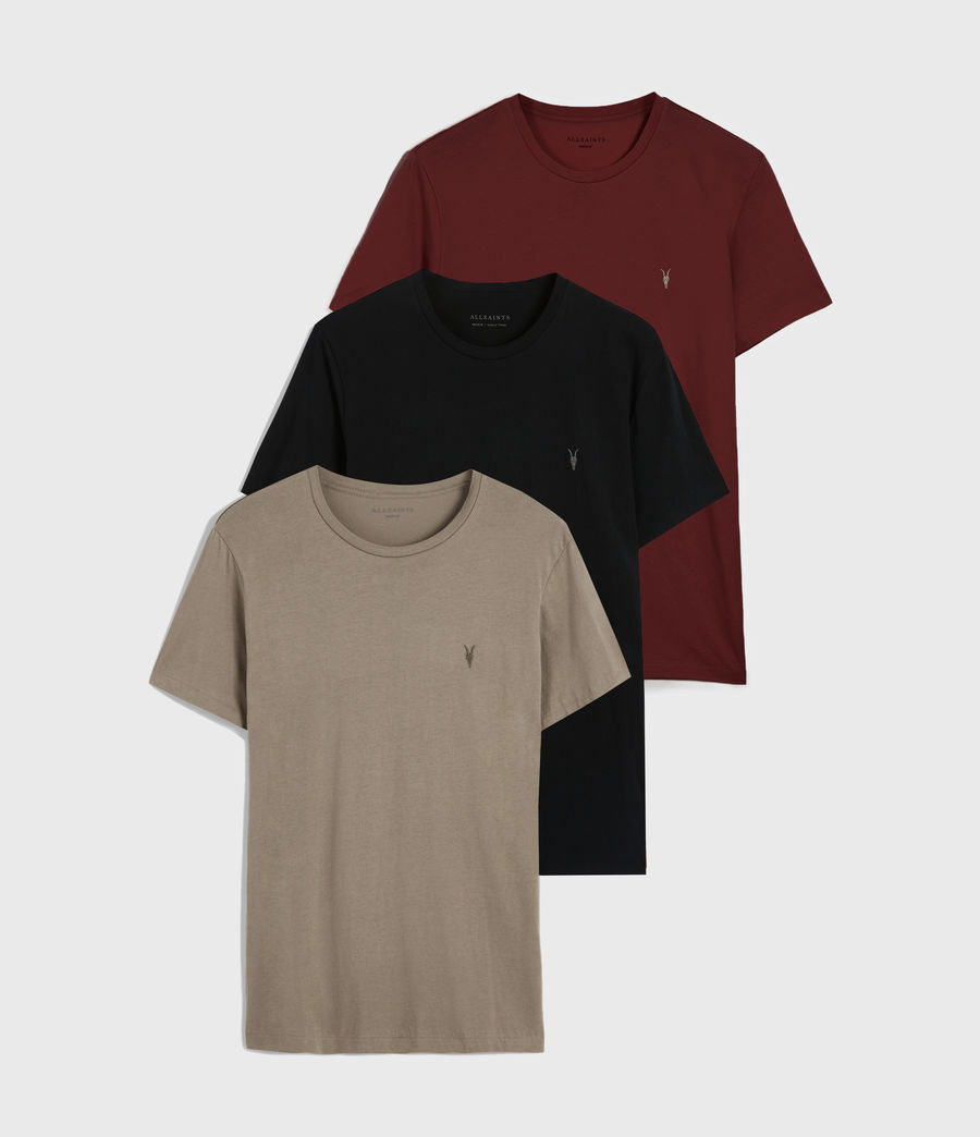 Mens Tonic Crew 3 Pack T-Shirts (blk_flint_grnt_red) - Image 1