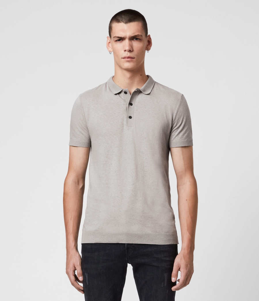 Uomo Polo Tyra - Slim in misto cotone e lino (putty_grey) - Image 1