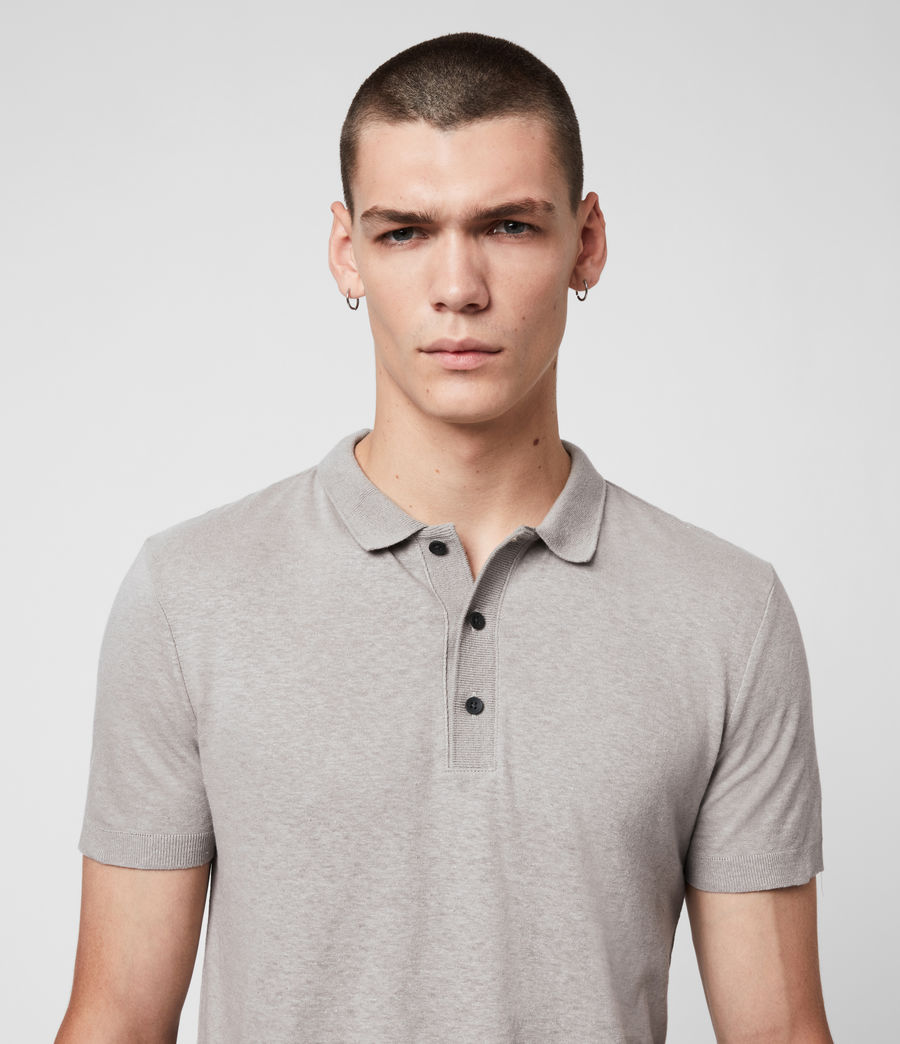 Uomo Polo Tyra - Slim in misto cotone e lino (putty_grey) - Image 2