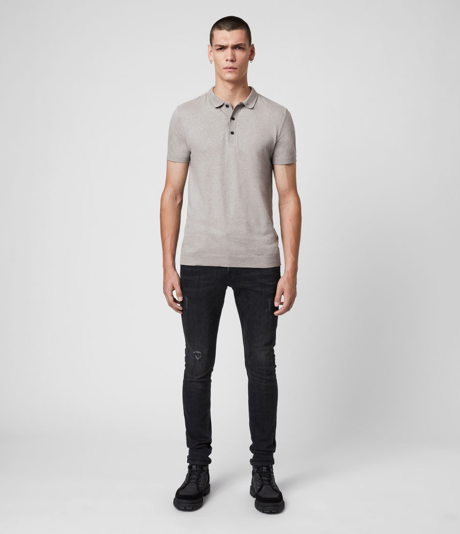 Uomo Polo Tyra - Slim in misto cotone e lino (putty_grey) - Image 3