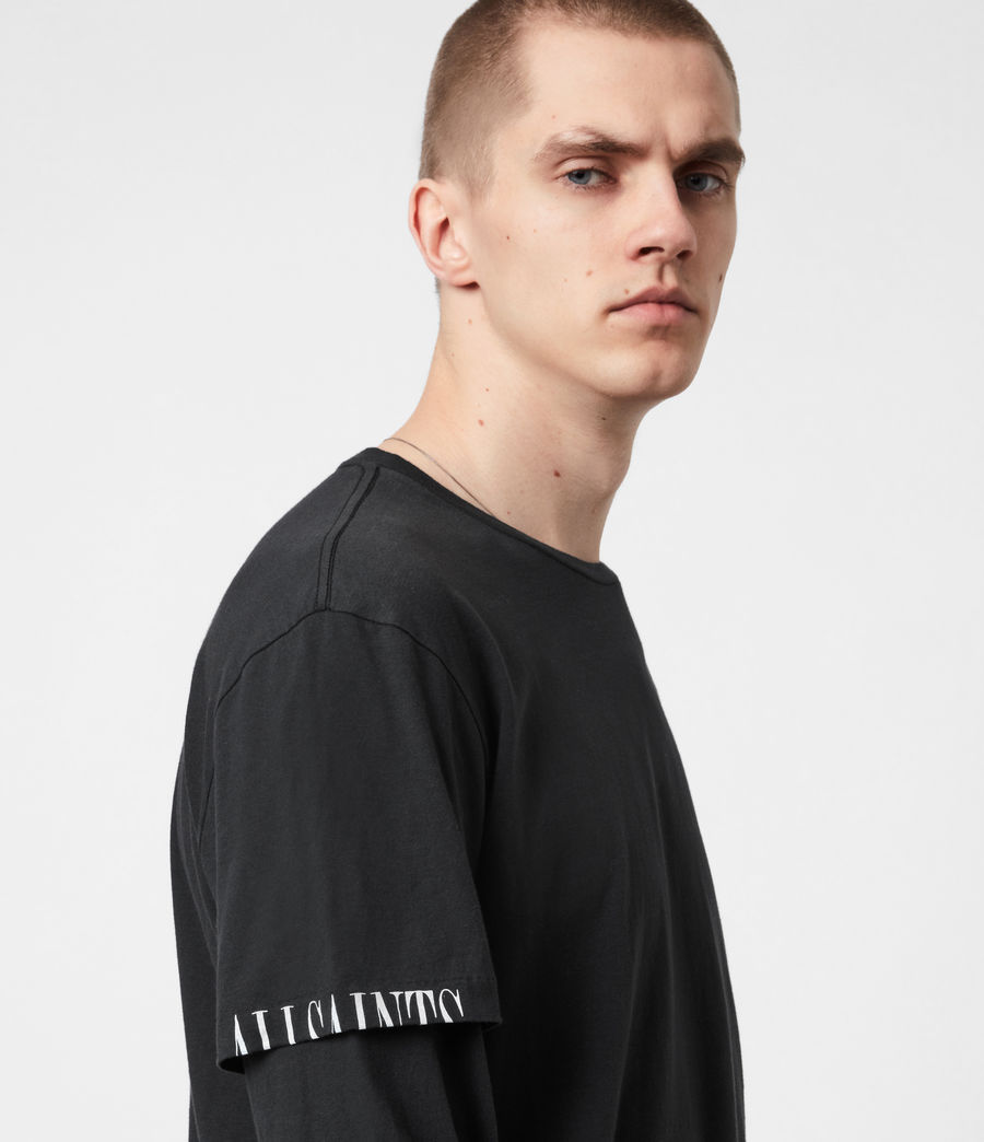Mens Haven Layered Crew T-Shirt (jet_black) - Image 4