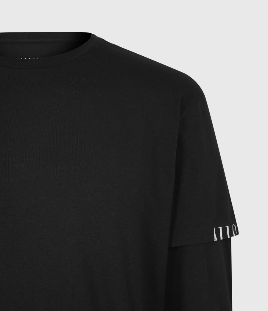 Mens Haven Layered Crew T-Shirt (jet_black) - Image 5
