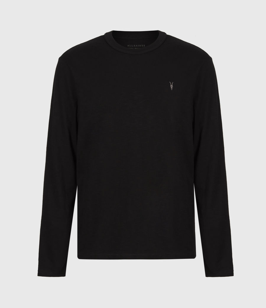 Mens Dexter Long Sleeve Crew T-Shirt (jet_black) - Image 2