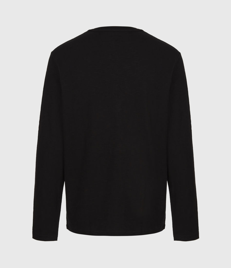 Mens Dexter Long Sleeve Crew T-Shirt (jet_black) - Image 3