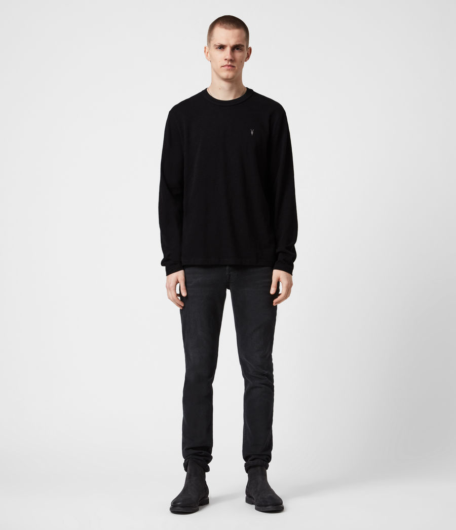 Mens Dexter Long Sleeve Crew T-Shirt (jet_black) - Image 4