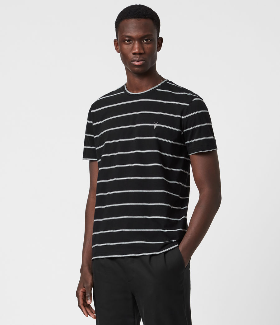 Men's Louis Stripe Crew T-Shirt (black) - Image 1
