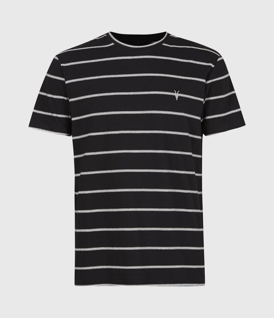 Men's Louis Stripe Crew T-Shirt (black) - Image 2
