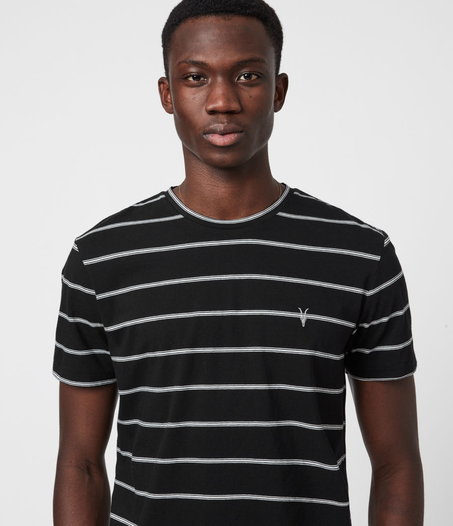 Men's Louis Stripe Crew T-Shirt (black) - Image 4