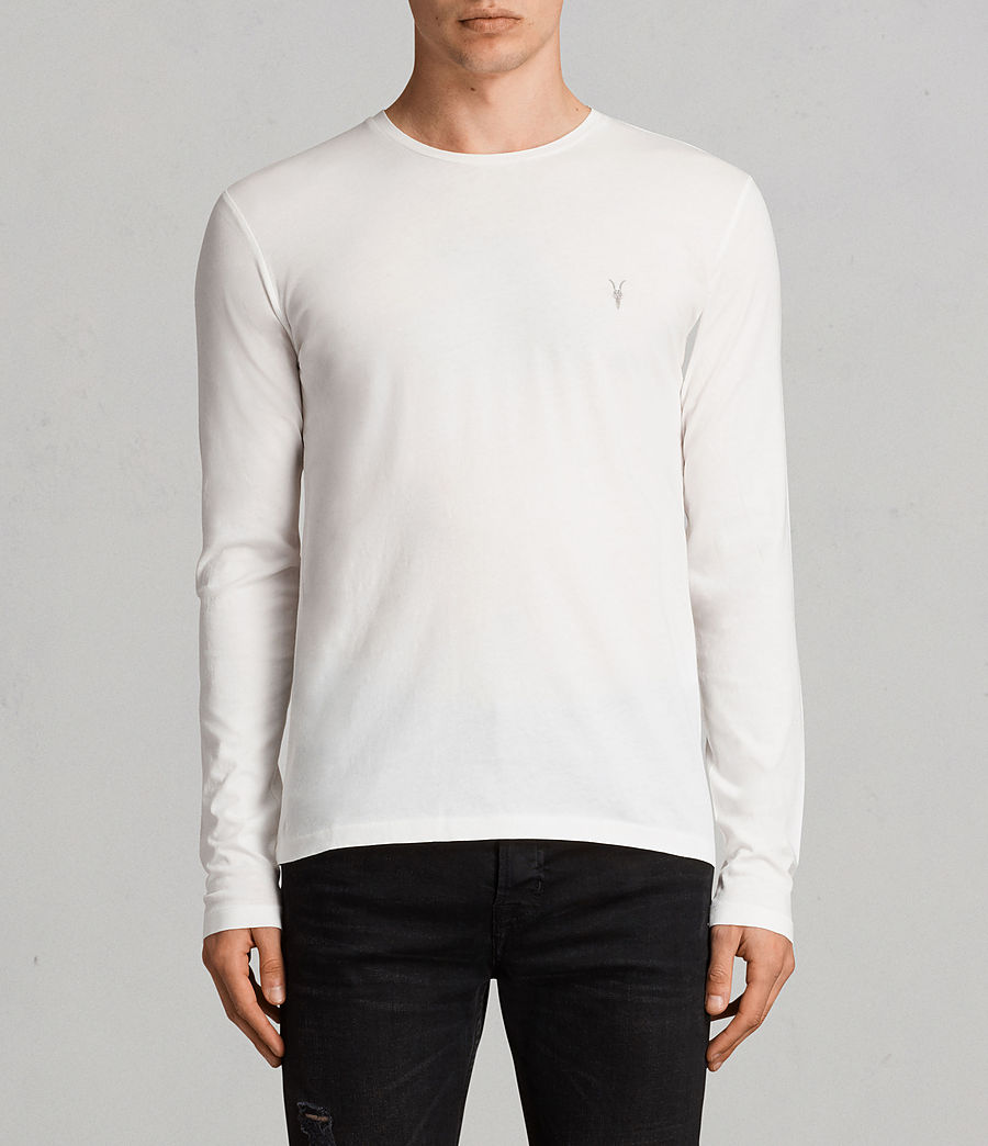 Mens Tonic Long Sleeve Crew T-Shirt (Chalk White) - Image 1