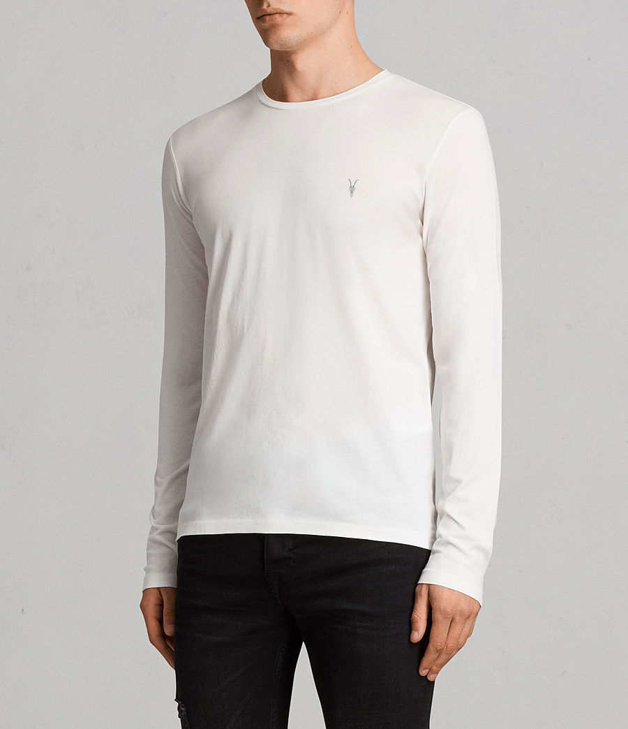 Mens Tonic Long Sleeve Crew T-Shirt (Chalk White) - Image 3