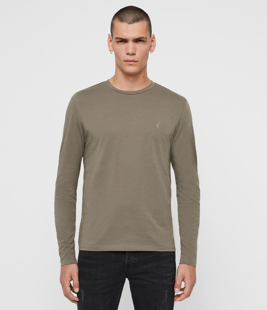 Hombres Tonic Long Sleeve Crew T-Shirt (beech_green) - Image 1