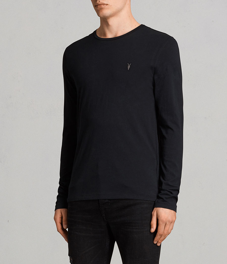 Mens Tonic Long Sleeve Crew T-shirt (Jet Black) - Image 3
