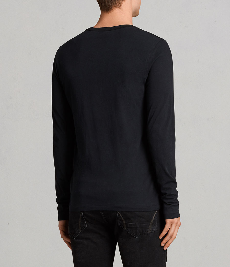 Mens Tonic Long Sleeve Crew T-shirt (Jet Black) - Image 4