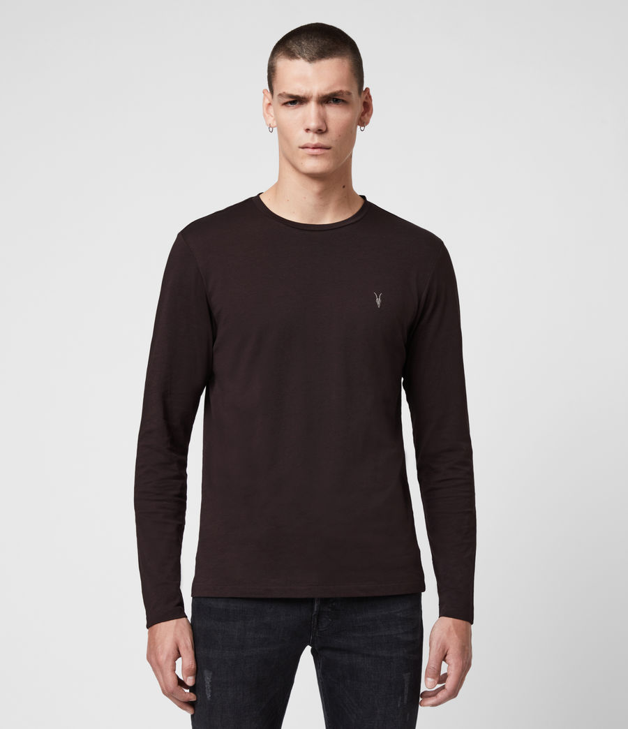 Men's Tonic Long Sleeve Crew T-Shirt (mahogany_red) - Image 1