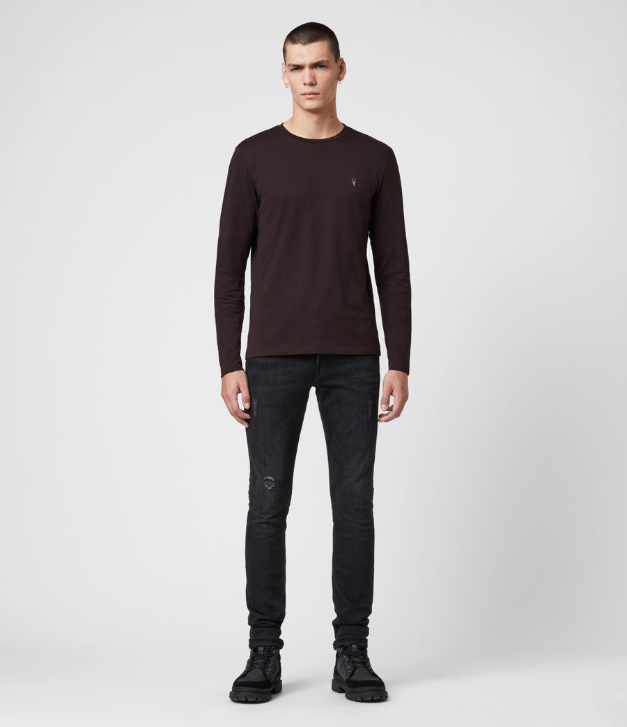 Men's Tonic Long Sleeve Crew T-Shirt (mahogany_red) - Image 3