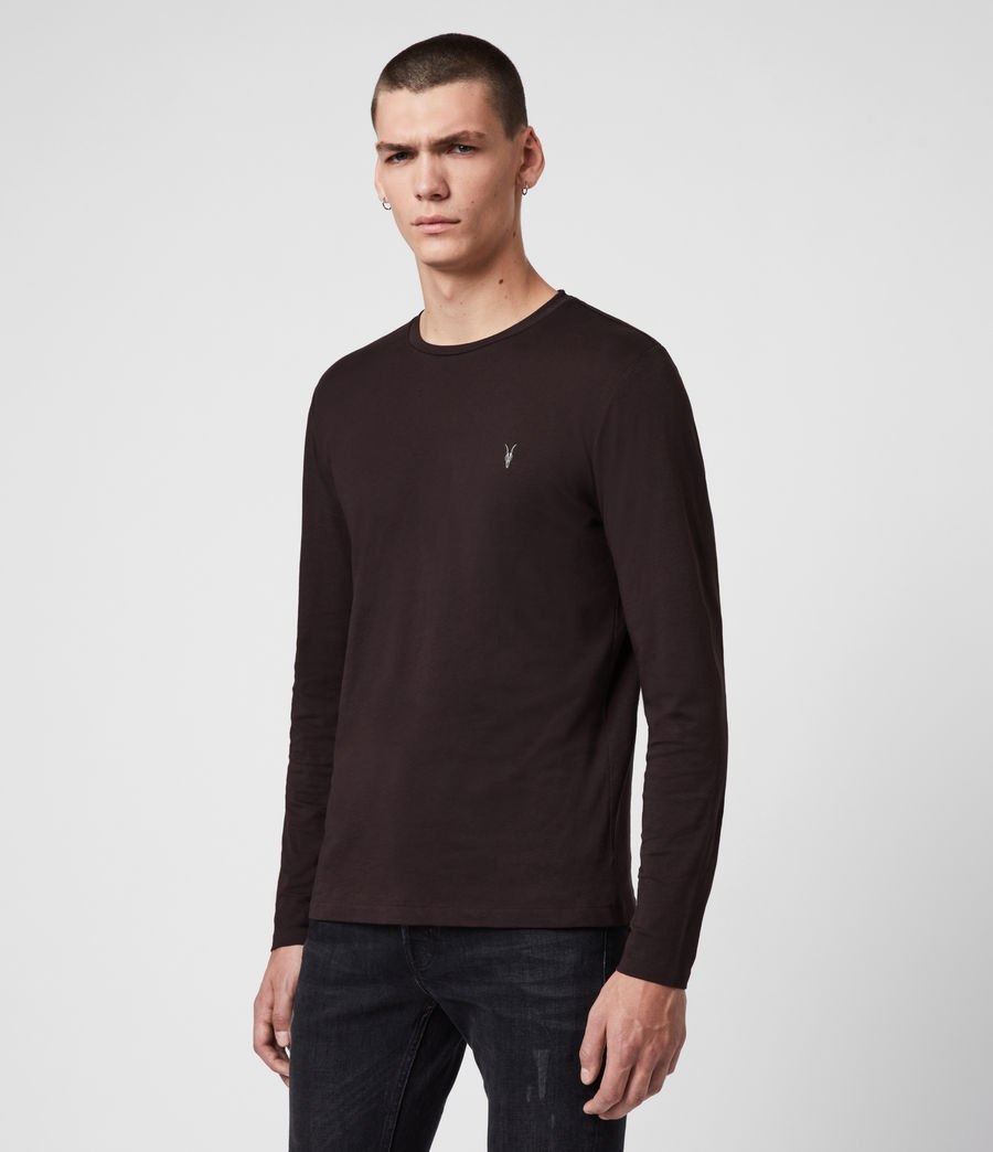 Men's Tonic Long Sleeve Crew T-Shirt (mahogany_red) - Image 4