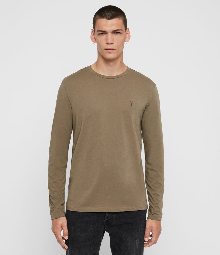 Hombres Tonic Long Sleeve Crew T-Shirt (beech_green) - Image 1