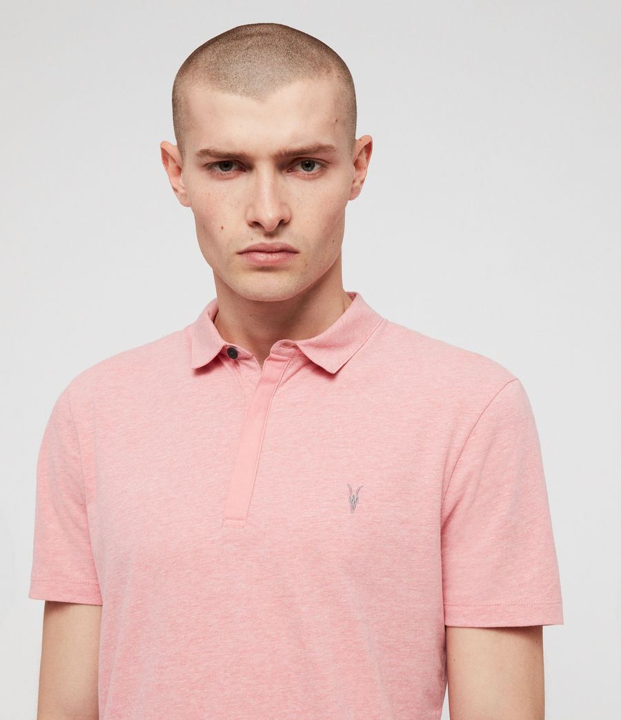 Mens Brace Short Sleeve Polo Shirt (lt_havana_pink_mrl) - Image 2