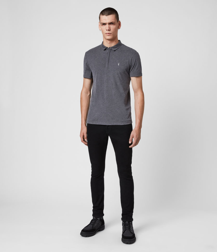 Mens Brace Short Sleeve Polo Shirt (charcoal_marl) - Image 3