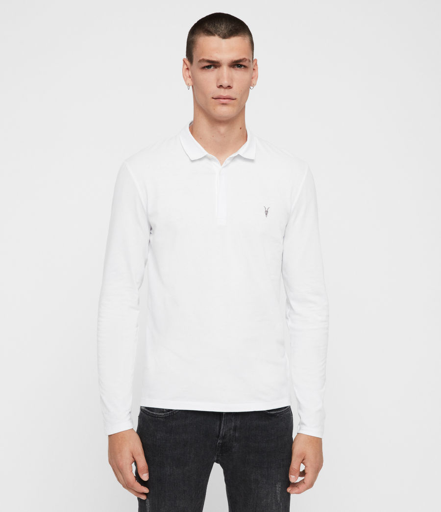 Men's Brace Long Sleeved Polo Shirt (optic_white) - Image 1