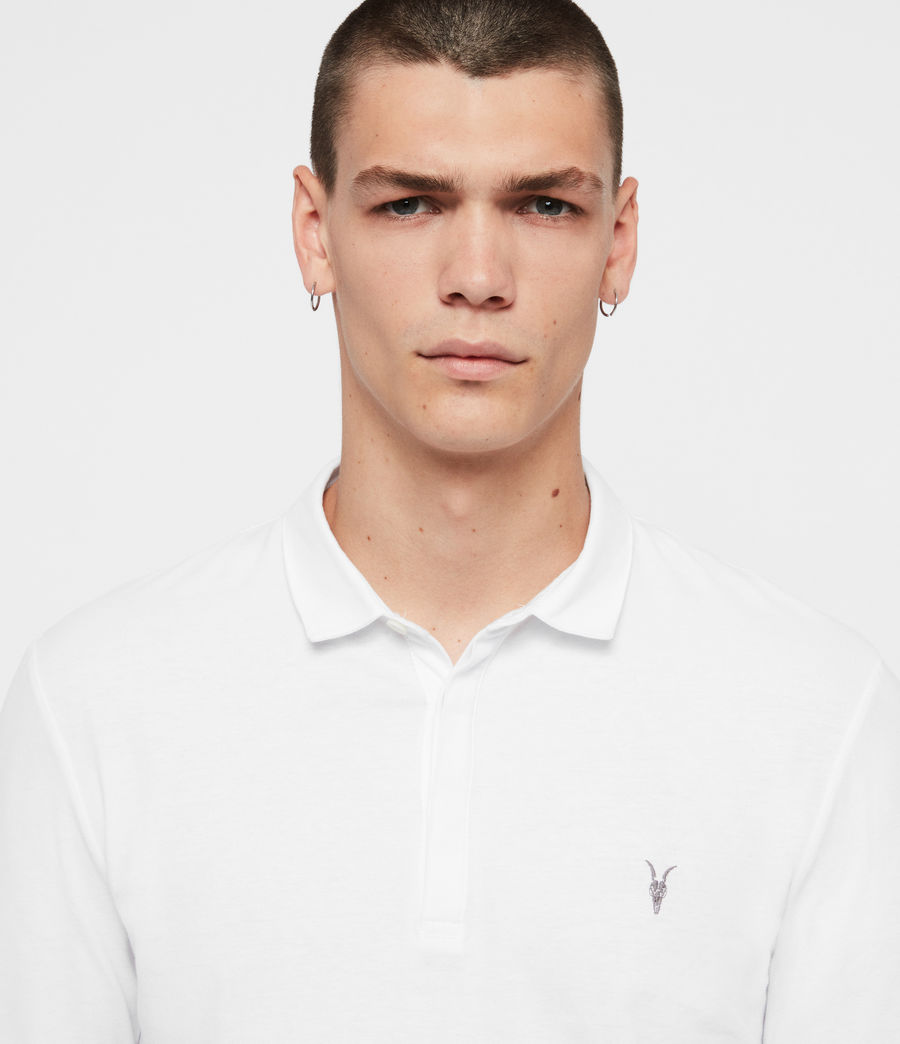 Men's Brace Long Sleeved Polo Shirt (optic_white) - Image 2