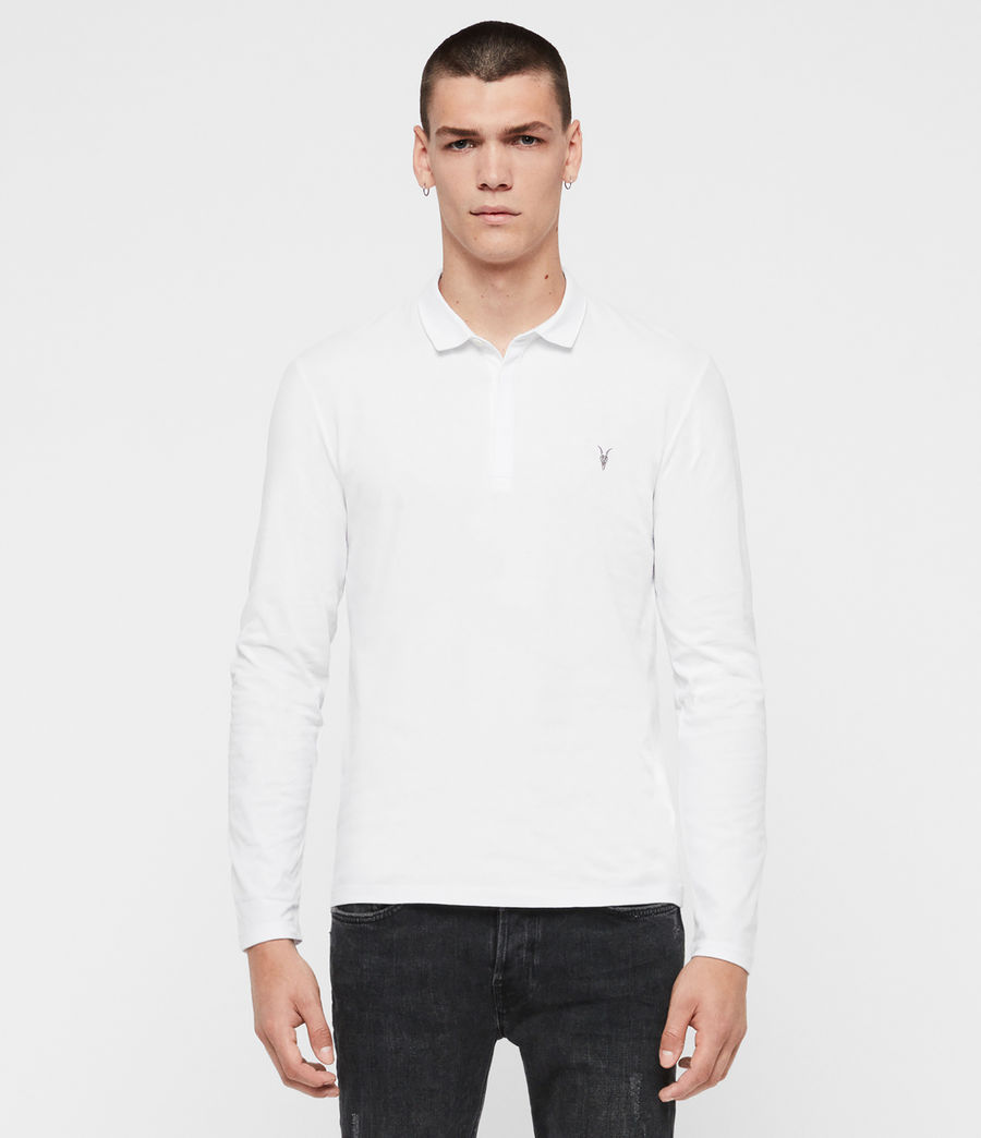 Men's Brace Long Sleeved Polo Shirt (optic_white) - Image 3