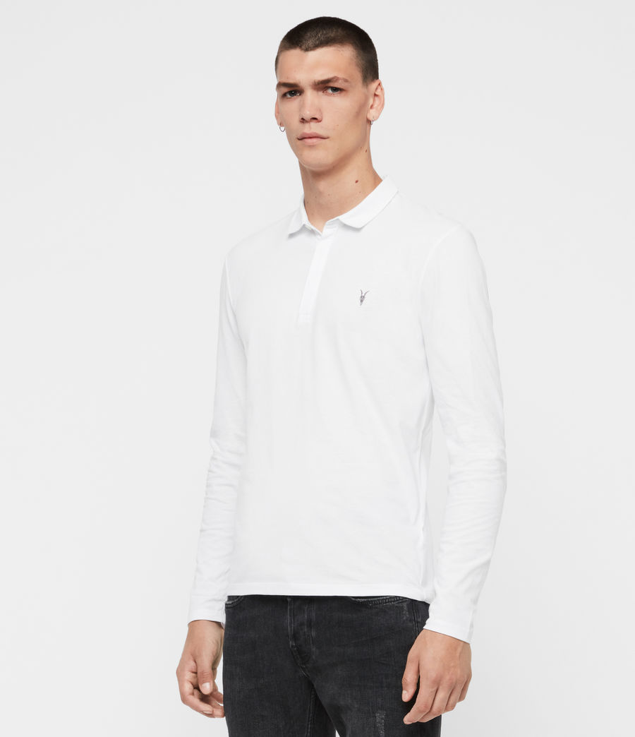 Men's Brace Long Sleeved Polo Shirt (optic_white) - Image 4