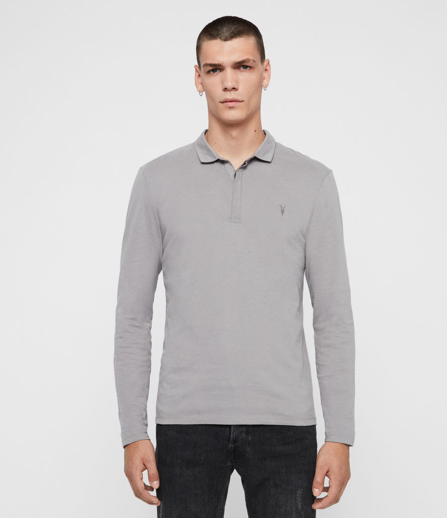 Men's Brace Long Sleeve Polo Shirt (flint_grey) - Image 1