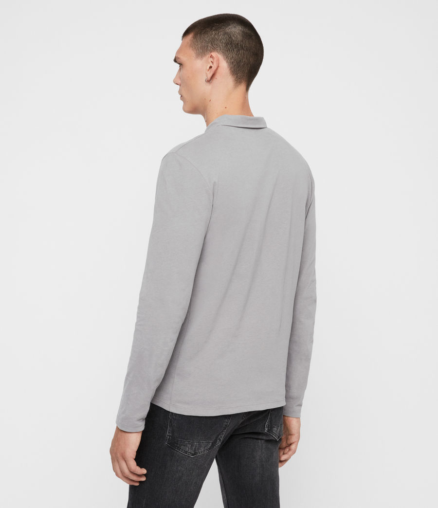Men's Brace Long Sleeve Polo Shirt (flint_grey) - Image 3