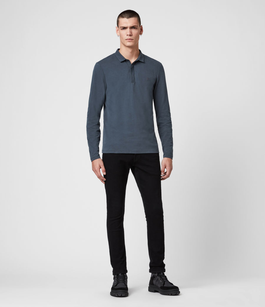 Men's Brace Long Sleeve Polo Shirt (jet_black) - Image 3