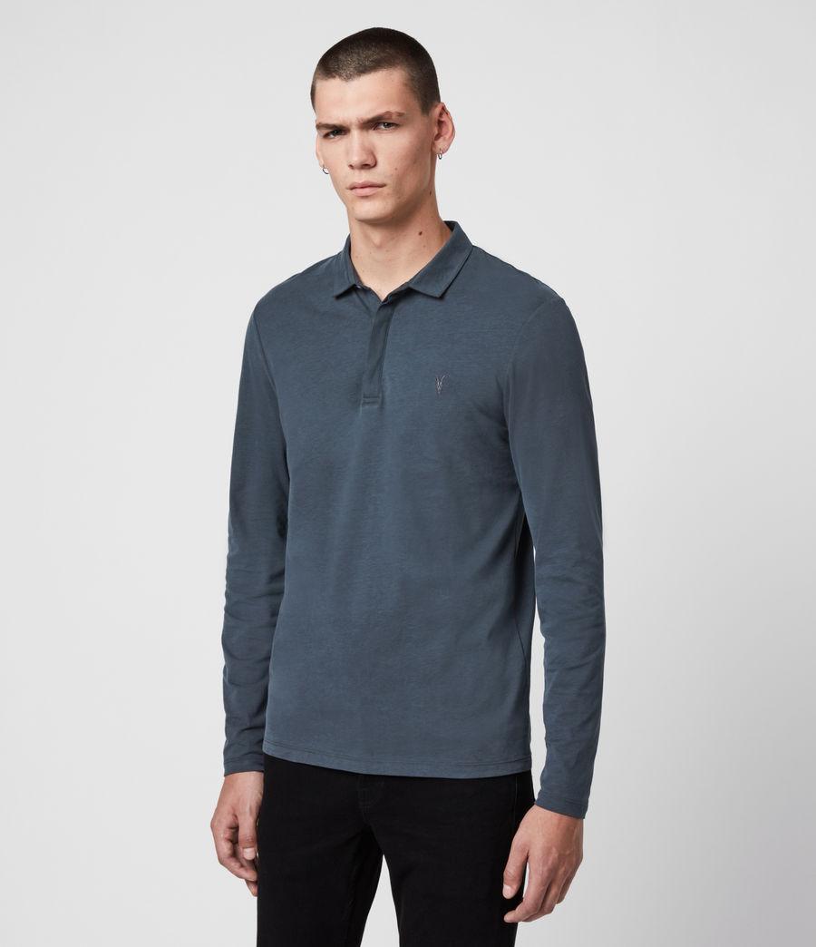 Men's Brace Long Sleeve Polo Shirt (jet_black) - Image 4