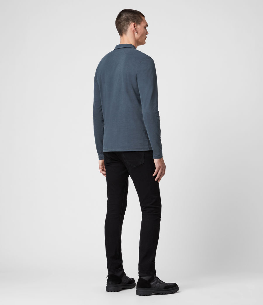 Men's Brace Long Sleeve Polo Shirt (jet_black) - Image 5