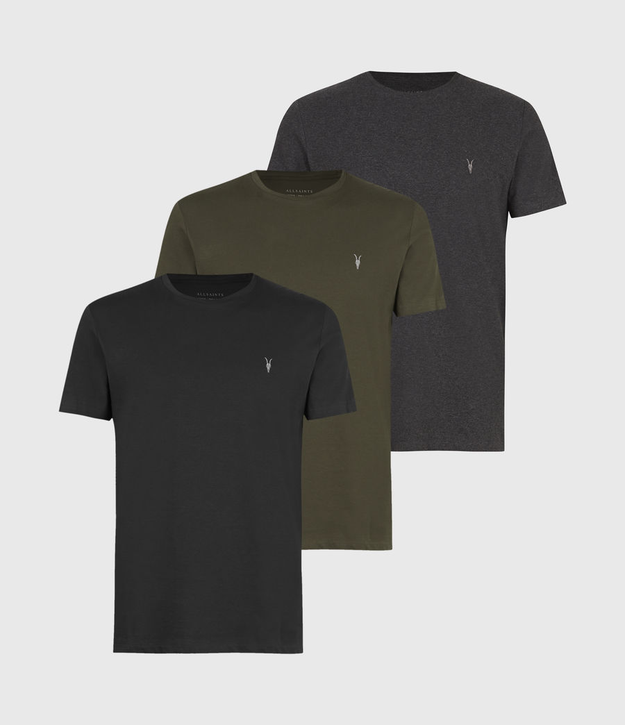 Mens Tonic Crew 3 Pack T-Shirts (blk_charcoal_grn) - Image 1