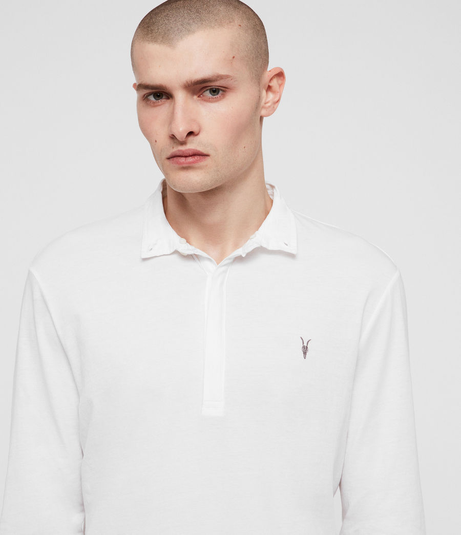 Men's Grail Long Sleeve Polo Shirt (optic_white) - Image 3