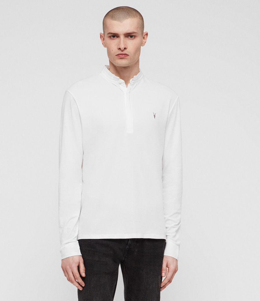 Men's Grail Long Sleeve Polo Shirt (optic_white) - Image 4