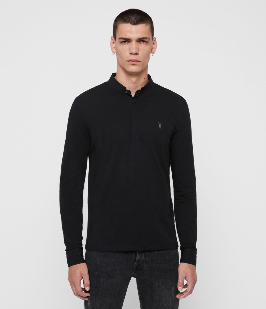 Mens Grail Long Sleeve Polo Shirt (jet_black) - Image 1