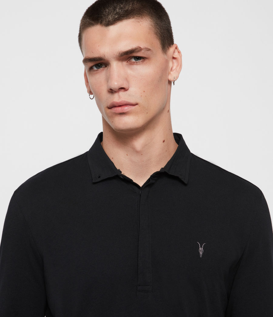 Mens Grail Long Sleeve Polo Shirt (jet_black) - Image 2