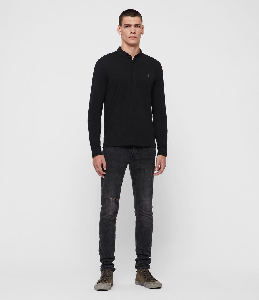 Mens Grail Long Sleeve Polo Shirt (jet_black) - Image 3