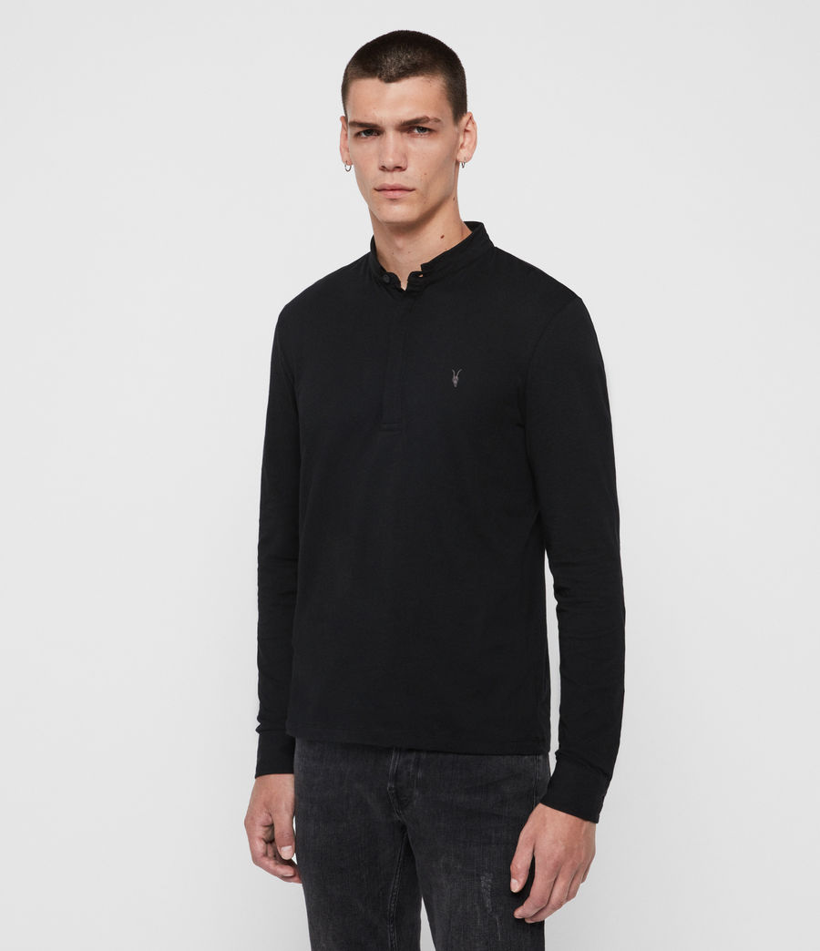Mens Grail Long Sleeve Polo Shirt (jet_black) - Image 4