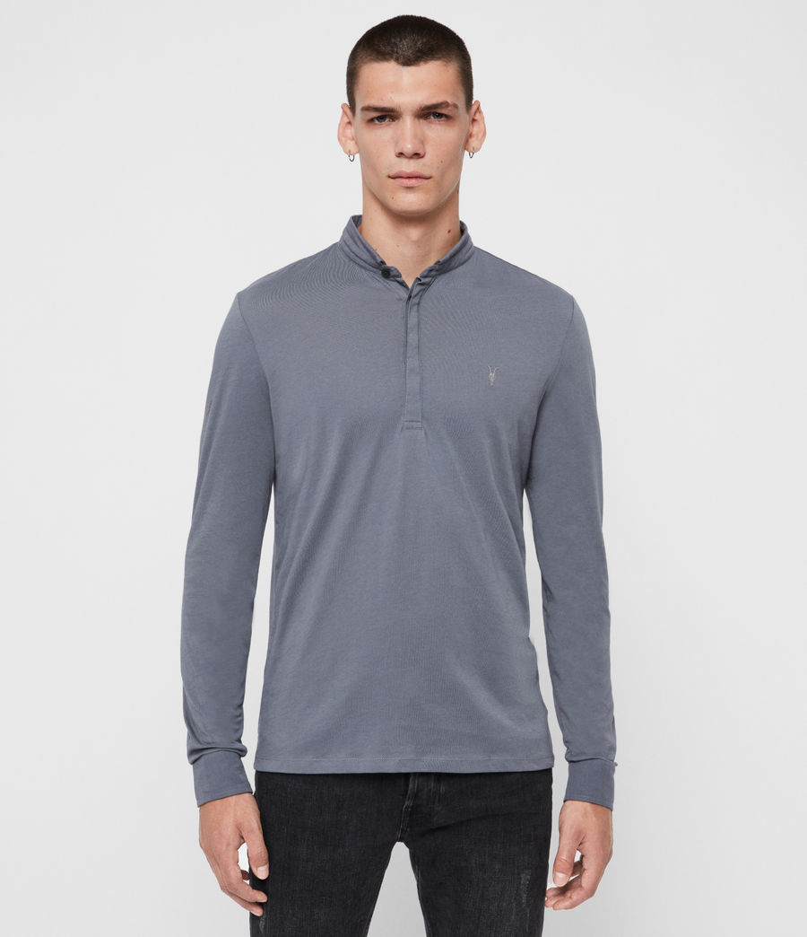 Men's Grail Long Sleeve Polo Shirt (ash_blue) - Image 1