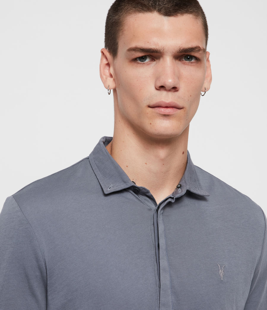 Men's Grail Long Sleeve Polo Shirt (ash_blue) - Image 2