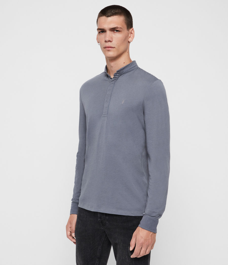 Men's Grail Long Sleeve Polo Shirt (ash_blue) - Image 3