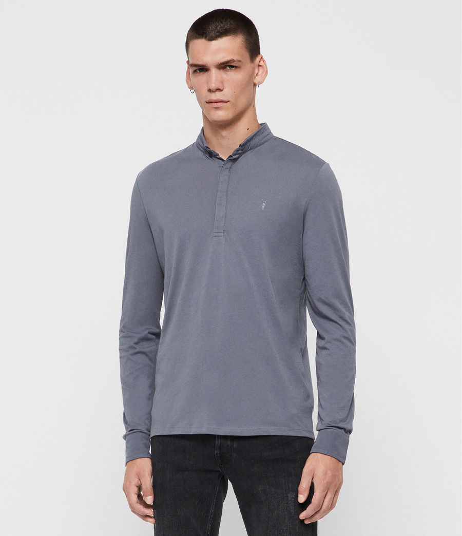 Men's Grail Long Sleeve Polo Shirt (ash_blue) - Image 4