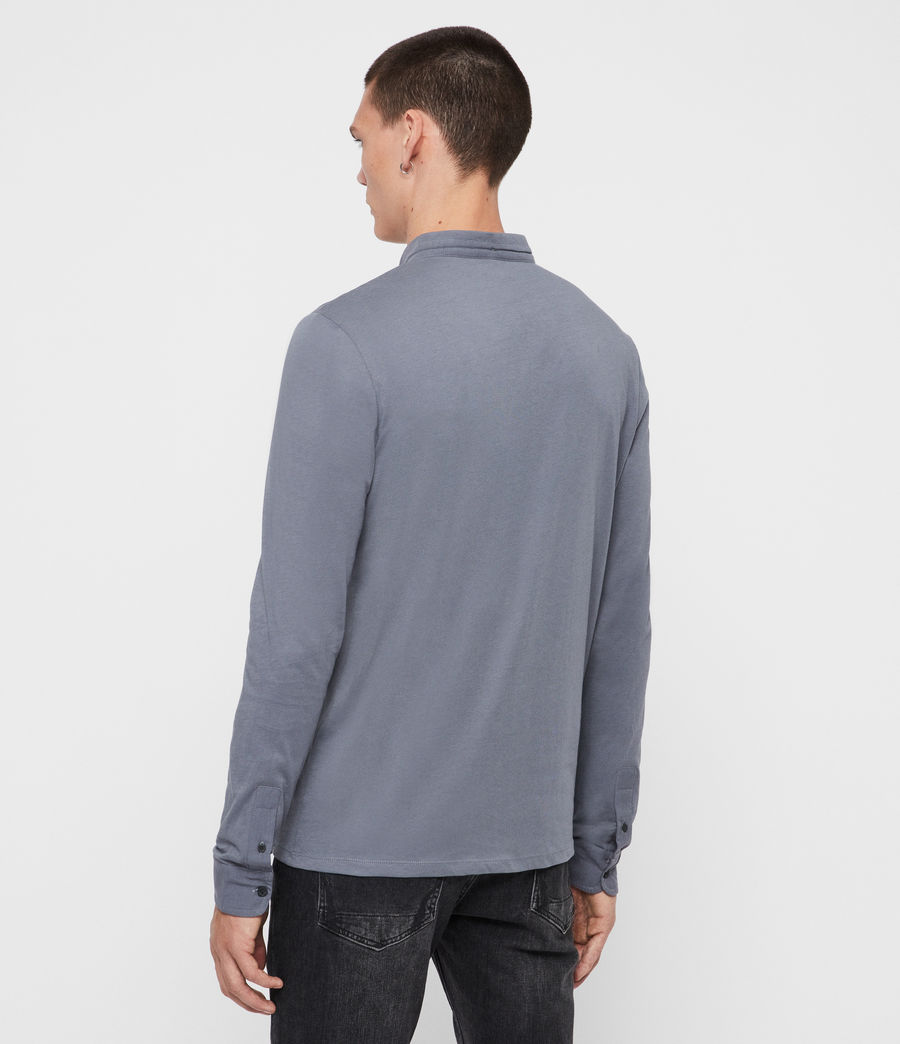 Men's Grail Long Sleeve Polo Shirt (ash_blue) - Image 5