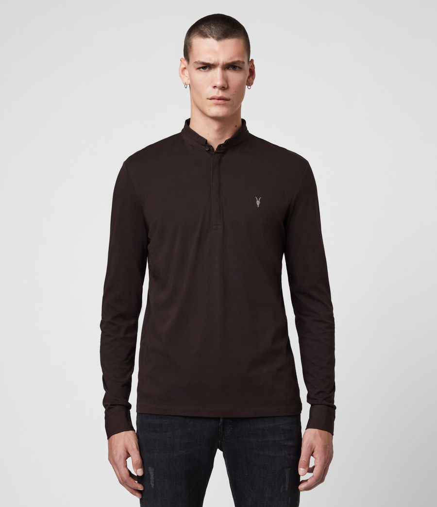 Men's Grail Long Sleeve Polo Shirt (mahogony_red) - Image 1