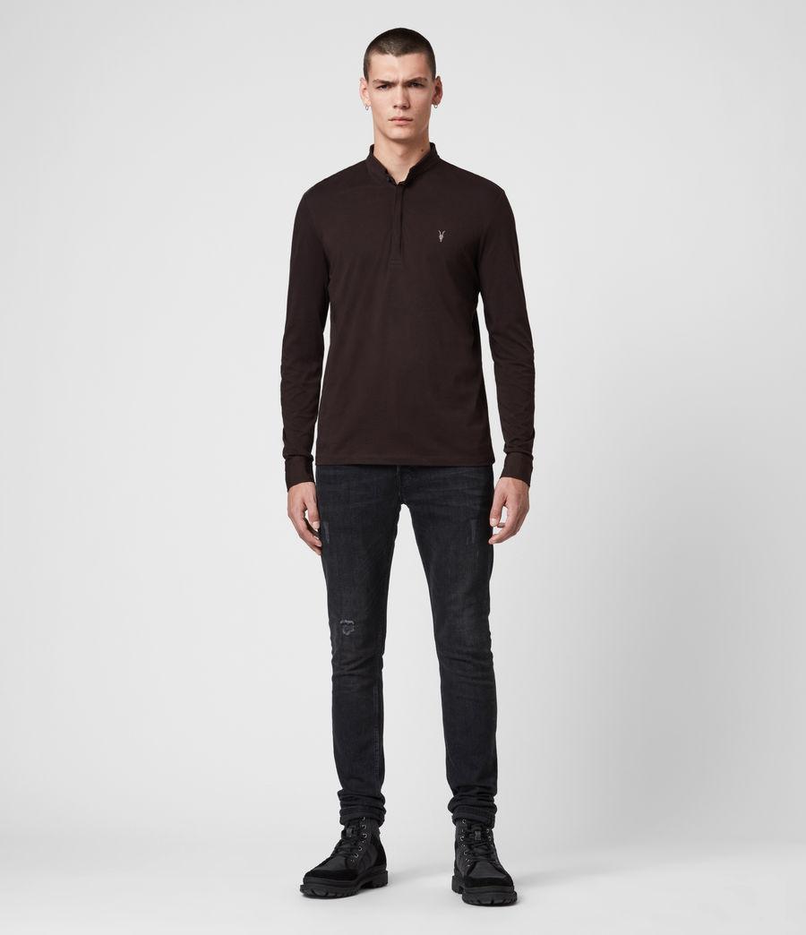 Men's Grail Long Sleeve Polo Shirt (mahogony_red) - Image 3