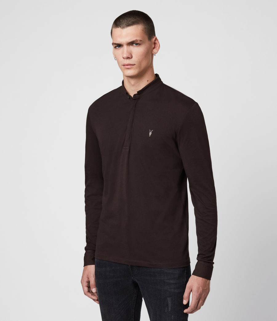 Men's Grail Long Sleeve Polo Shirt (mahogony_red) - Image 4