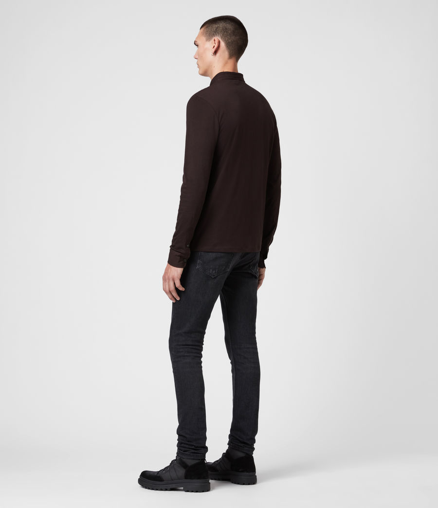 Men's Grail Long Sleeve Polo Shirt (mahogony_red) - Image 6