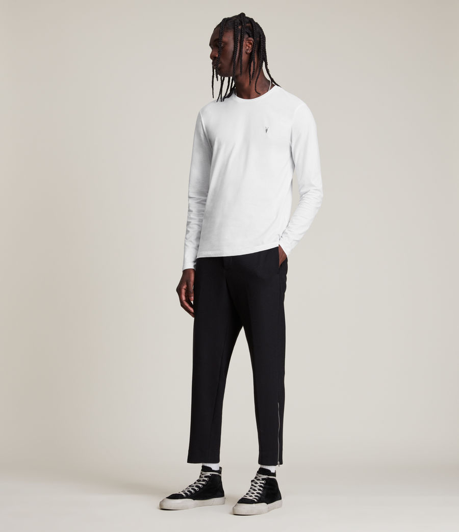 Hommes Brace Long Sleeve Tonic Crew T-Shirt (pebble_ecru_marl) - Image 3