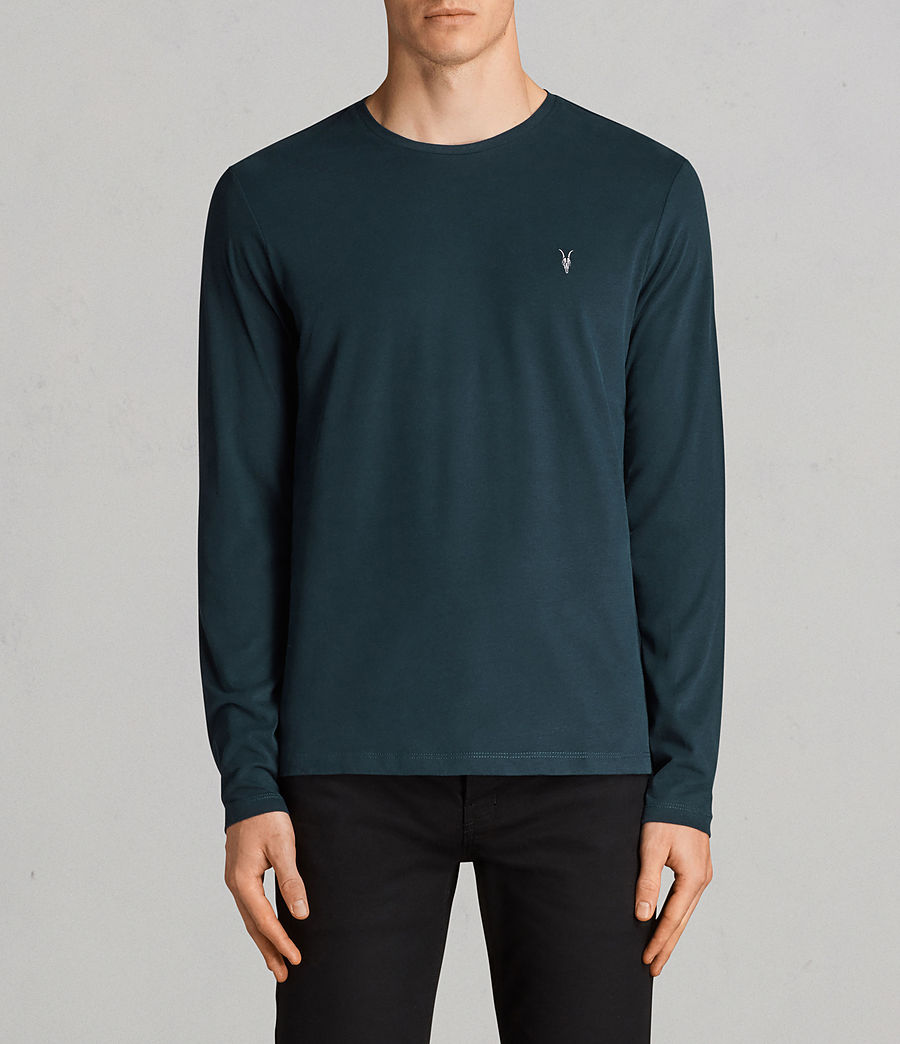 Mens Brace Long Sleeve Tonic Crew T-Shirt (oil_blue) - Image 1